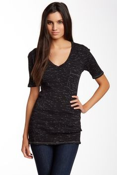 Go Couture V-Neck Heather Knit Tee