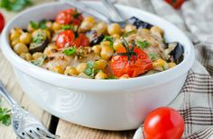 Ikarians eat a variation of the Mediterranean diet, with lots of fruits and vegetables, whole grains, beans, potatoes and olive oil. Olive oil contains cholesterol-lowering mono-unsaturated fats. Try this delicious Baked Chickpeas recipe. And don't forget the olive oil!