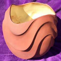 by Lalage Hunter. Iron Oxide, Terracotta, Pots, Curves, Carving, Pottery, Ceramics, Interior, Ceramica