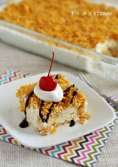 Mexican Fried Ice Cream Dessert 3 cups crushed Corn Flakes cereal 3/4 cup sugar 1/2 cup (1 stick) butter 1 (1.75 quart) container Vanilla ice cream 1 (8 ounce) container Cool Whip 1/2 teaspoon ground cinnamon 1/4 cup honey Chocolate syrup Caramel sauce