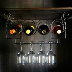 Under the Cabinet 4-Bottle Wine and Glass Rack