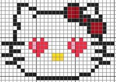Hello Kitty pattern - Crochet / knit / stitch charts and graphs and like OMG! get some yourself some pawtastic adorable cat apparel! Cross Stitch Charts, Cross Stitch Designs, Cross Stitch Patterns, Perler Bead Templates, Perler Patterns, Kawaii Cross Stitch, Hello Kitty Crochet, Pull Bebe, Pixel Crochet