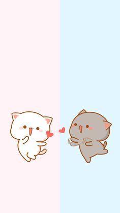 the yellow is anglina jolie and gray is brad pitt beautiful couple Wallpaper Gatos, Cat Wallpaper, Kawaii Wallpaper, Disney Wallpaper, Chat Kawaii, Kawaii Cat, Chibi Cat, Cute Chibi, Cute Cartoon Images