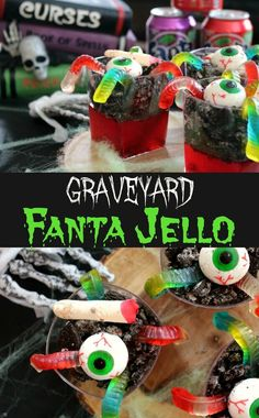 Be the best house on the block with this jelly worm candy filled creepy jello cups recipe for trick or treating or Halloween party. #foodtalkdaily