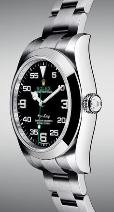 The Rolex Air-King with a 40 mm case in Oystersteel and a black dial.