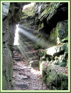 Secret Guide to hidden places in Britain. Lud's Church is a deep chasm penetrating the Millstone Grit bedrock created by a massive landslip on the hillside above Gradbach, Staffordshire, England. Hidden Places, Secret Places, Places To See, Peak District, Scenic Photography, Derbyshire, The Great Outdoors, Countryside, Nature