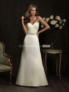 A-line Taffeta Embroidery With Beaded Sash Wedding Dress picture 1