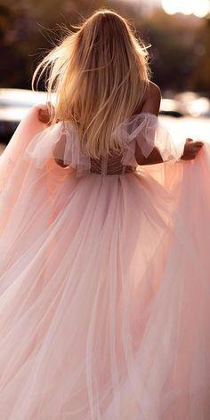 Color Trend: 18 Blush Wedding Dresses You Must See ❤ blush wedding dresses simple a line off the shlulder tinavalerdi ❤ #weddingdresses #weddingoutfit #bridaloutfit #weddinggown