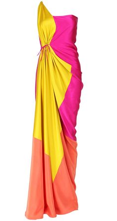 James Ferreira sari-inspired colorblock gown