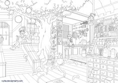 Lineart: Magic Shop by Vylla on deviantART