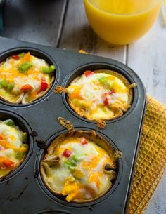 Egg, veggie, and cheese omelets baked in tortilla cups for a super convenient and fun way to have breakfast! These mini egg and cheese tortilla cups make a Breakfast Tortilla, Breakfast Bites, Breakfast Snacks, Breakfast Recipes, Egg Tortilla, Breakfast Muffins, Breakfast Casserole, Egg Recipes, Brunch Recipes