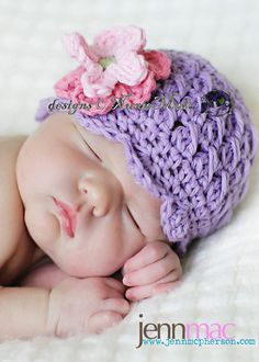 grape NuxieMade crochet shell cap on NuxieMade.com