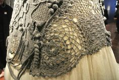 gaultier dress detail - it's a knit dress with a section that looks like crochet but may be knit lacework