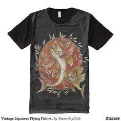 Vintage Japanese Flying Fish with Bamboo Leaves All-Over-Print T-Shirt - Visually Stunning Graphic T-Shirts By Talented Fashion Designers - #shirts #tshirts #print #mensfashion #apparel #shopping #bargain #sale #outfit #stylish #cool #graphicdesign #trendy #fashion #design #fashiondesign #designer #fashiondesigner #style