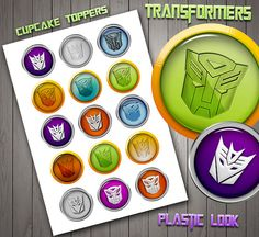 Transformer Cupcake Toppers, Cristal Look, High Quality, Birthday Toppers, Plastic Look, Kids Decor, Transformers  Sticker Digital Download