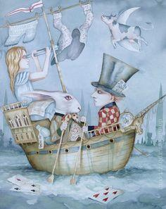 Alice In Wonderland Art  Original Painting Hatter White Rabbit  Dominic Murphy