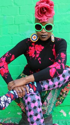 Image by Hassan Hajjaj Colourful Outfits, Colorful Fashion, Fashion Prints, Fashion Design, Fashion Ideas, Afro Punk Fashion, Black Power, African Fabric, Wearable Art