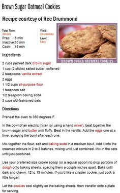 Brown Sugar Oatmeal Cookies and Drink appetizers brown sugar Brown Sugar Oatmeal, Brown Sugar Cookies, Peanut Butter Oatmeal, Chocolate Chip Oatmeal, Oatmeal Cookies, Easy Cookie Recipes, Cookie Desserts, Sweet Recipes, Dessert Recipes