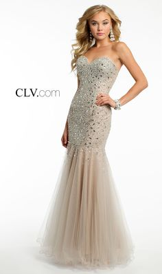 Camille La Vie Strapless Jewel Flounce Long Dress for Prom
