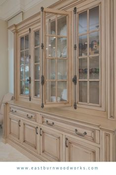 Custom built china cabinet by Eastburn Woodworks in Pensacola, FL with glass mullion frame doors and a light wood stain Dining Room Hutch, Dining Room Design, Kitchen Design, Home Decor Kitchen, Home Kitchens, Kitchen Utensils Store, Built In Cabinets, Built In Hutch, China Cabinets