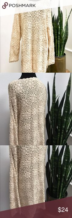 "Vintage crochet cotton shift dress size large Gorgeous vintage crochet shift dress size large. Boho at its best. One of a kind because it's vintage. Would be cute style with tall or short moccasins boots for you bohemian look. Crochet and dress are in insanely great condition for its age. 32"" long 18"" across shoulder Vintage Dresses"
