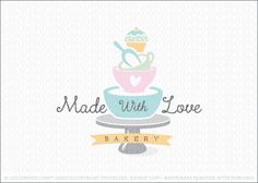 Logo for sale: Cute, fun and playful bakery cake logo design featuring a stacked bowls, measuring cup, scoop and a cupcake on a cake stand.