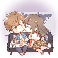 Anime Chibi, Kawaii Anime, Art Anime, Kawaii Chibi, Anime Art Girl, Cute Chibi Couple, Cute Couple Art, Cute Anime Guys, Cute Anime Couples