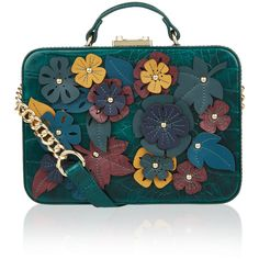 Accessorize Floral Applique Suitcase Bag (£53) ❤ liked on Polyvore featuring bags, handbags, turquoise cross body purse, turquoise purse, blue crossbody handbag, structured handbags and summer purses