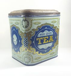 Antique Vintage High Grade Tea Tin With Swan by ElysianVintageMN