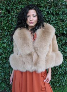 Check out the deal on Gold Camel Sheared Beaver Cape with Fox Trim at Fur Coat | Fur Jacket | Shearling Coat | Shearling Jacket | Aspen Fashions by Gwen