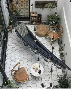 Home Interior Design — Courtyard 💭 Balkon , Home Design, Exterior Design, Salon Interior Design, Ikea Interior, Design Ideas, Simple Interior, Interior Designing, Nordic Design, Modern Interior