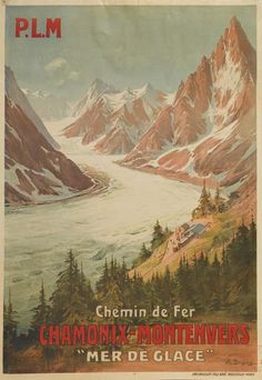 """Sale 2267 Lot 211    EUGENE V. BOURGEOIS (1855-1909) CHAMONIX - MONTENVERS / """"MER DE GLACE.""""   39 1/2x28 inches, 100x71 cm.   Condition A-: creases in image.     Estimate $1,200-1,800"""