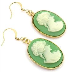 Vintage Green and Cream Cameo Earrings