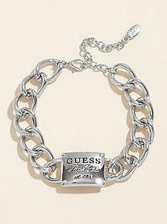 Guess Silver Logo Plaque Bracelet