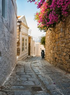 by StALS55  sky flowers city sea street travel blue clouds vacation architecture summer town bike lindos greece