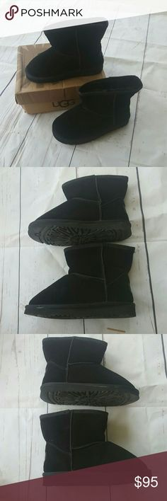 Nwt ugg black boots womens size 4 Only worn briefly one time absolutely no signs of wear excellent condition still have the bags box in authentication slip Uggs furry inside sheepskin outside women's size 4. UGG Shoes Ankle Boots & Booties