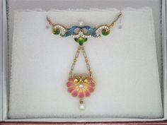 Very Rare Art Nouveau Enamel, Diamond & Pearl Necklace, circa 1902-1910