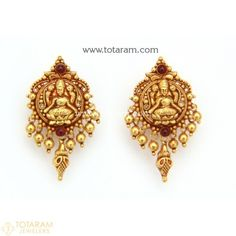 Buy Gold and Diamond Jewelry gifts Online that are made in India and ship from Totaram Jewelers Online in New Jersey USA Indian Gold Jewellery Design, Gold Temple Jewellery, Gold Jewelry, Jewelery, Jewelry Design, Gold Earrings For Women, Gold Earrings Designs, Gold Jhumka Earrings, Gold Drop Earrings