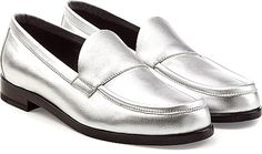 Pierre Hardy Shoes - Styled in high-shine metallic silver leather, these smart loafers from Pierre Hardy contrast suave polish with modern statement.  Silver leather, round toe, leather insole and sole. - #pierrehardyshoes #silvershoes