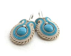 Soutache earrings beaded earrings spring pastel beige by soStudio, $31.00