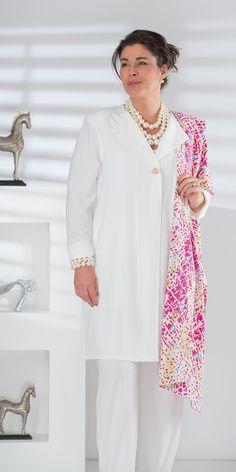 Box 2 cream crepe coat, vest, trouser and scarf