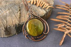 image 0 Agate Necklace, Agate Beads, Stone Necklace, Yellow Necklace, Wire Wrapped Pendant, Wire Wrapped Jewelry, Jewelry Gifts, Unique Jewelry, Copper Jewelry