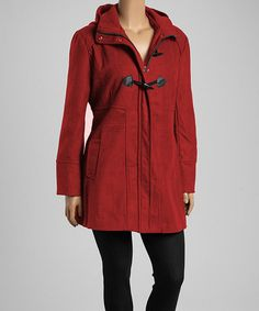 Red Hooded Toggle Coat - Plus #zulily #zulilyfinds