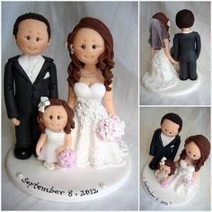 Bride and groom with flower girl wedding cake by ALittleRelic