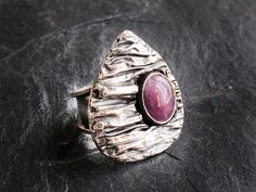 Pink Tourmaline Ring Sterling Silver and by GlassHouseLampwork