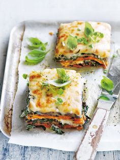 Sweet potato, eggplant and cauliflower béchamel lasagne.