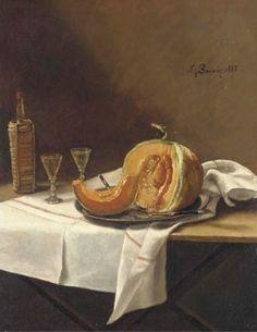 Nature morte au melon, bouteille de vin et verre sur une table 1884