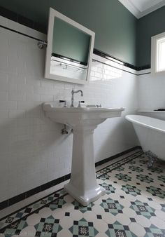 Olde English Tiles - Beautiful Bathroom Heritage Tessellated Tiles. Love these Victorian Geometric tiles in this heritage house