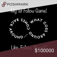 Follow Game!!!! Like, Follow,& SHARE SHARE SHARE! Tag your PFF and  check out my closet while you're at it! Let's grow our Posh networks together! Thanks for being an amazing community posh❤ Dresses