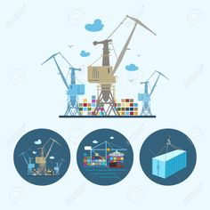 Cranes With Container In Dock. Set With 3 Round Colorful Icons,.. Royalty Free Cliparts, Vectors, And Stock Illustration. Image 33705205.